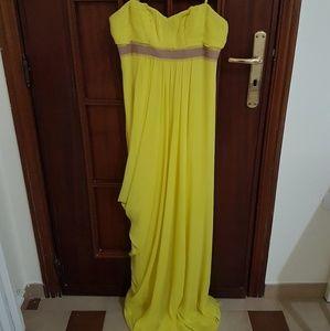BCBGMaxAzria Dresses - BCBGMaxAzria Chartreuse Chiffon Gown